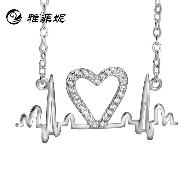 Colar de prata jóias atacado na europa e américa batimento cardíaco eletrocardiograma um fabricante pingente compromete-se