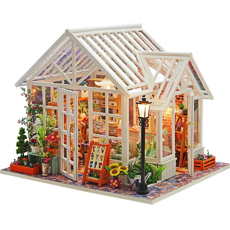 Casa de muñecas DIY casas de muñecas de madera miniaturas para muebles para casa de muñecas Kit casas de muñecas juguetes para niños regalo Sosa invernadero