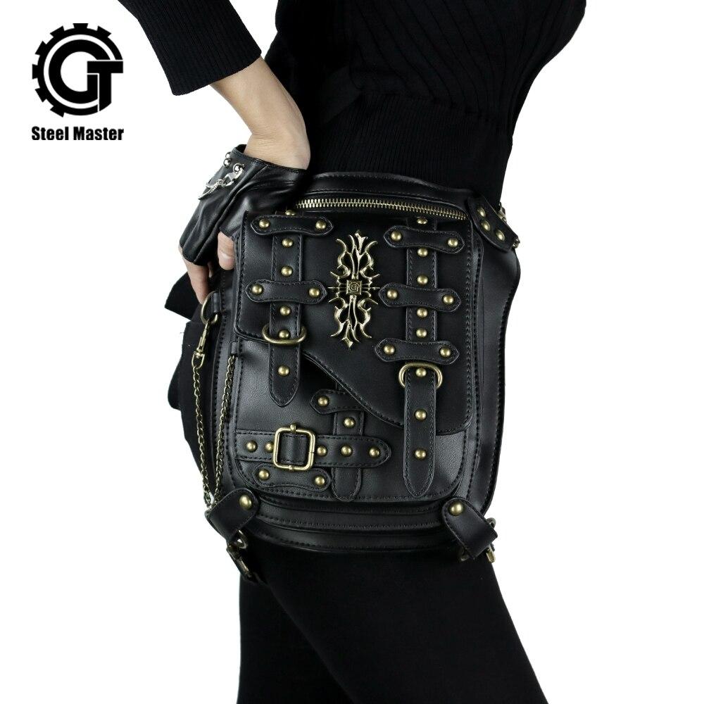 Oro nuevo accesorios Steampunk cintura bolso Vintage Dot remache Fanny Packs Retro muslo bolsa Unisex hombres mujeres riñoneras