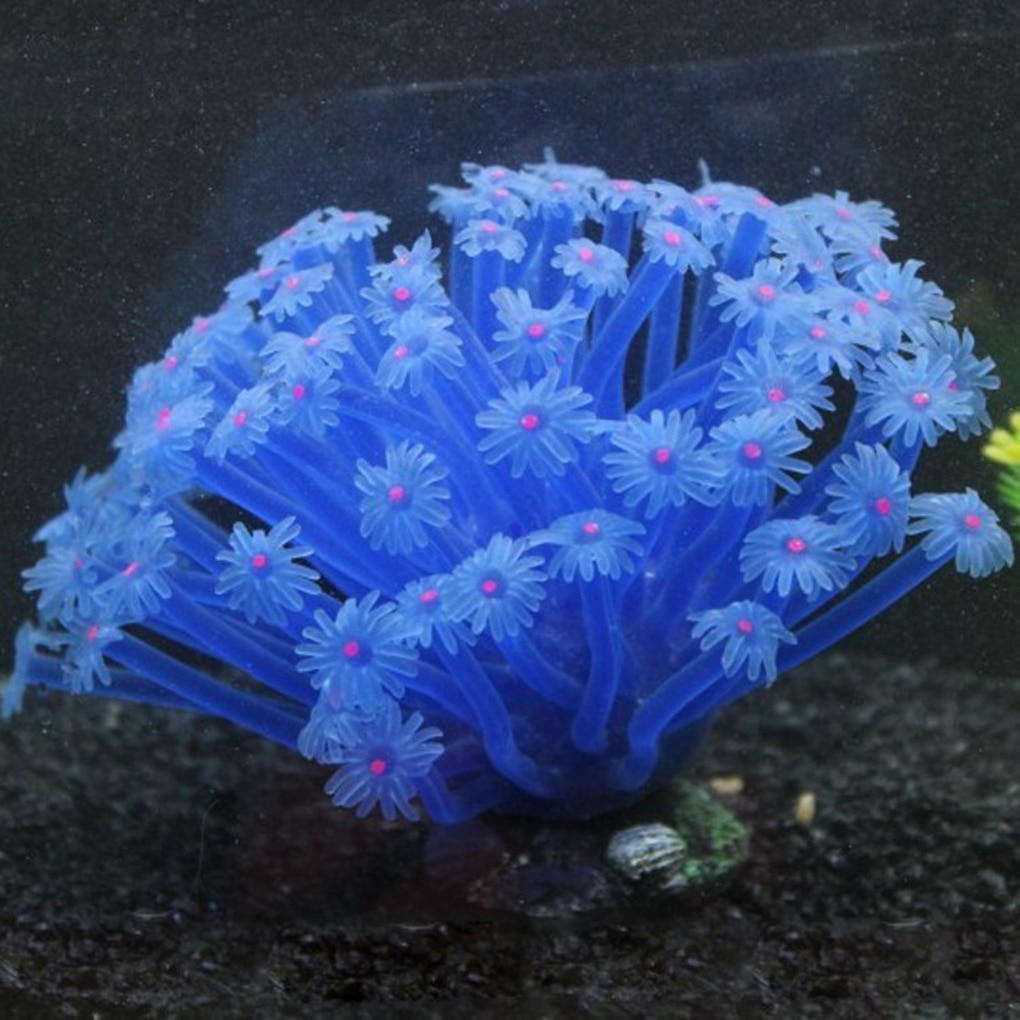 Artificial Sea Anemone Imitated Coral Ornaments 15*10cm For Fish Tank Aquarium Decoration