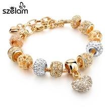 Szelam luxe cristal coeur Bracelets porte-bonheur & Bracelets or Bracelets pour femme bijoux Pulseira Feminina Sbr160056