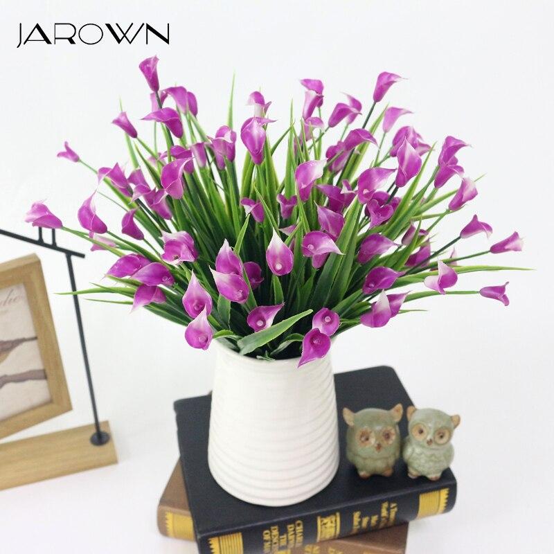 JAROWN trompeta de Ángel Artificial simulación de mañana Gloria pequeña flor de Lirio de Cala ramo para la boda decoración del hogar
