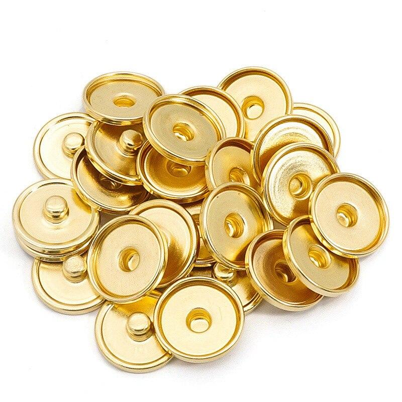Nuevos botones de presión dorados de 12 MM/18 MM/20 MM 50 unids/lote ajuste cabujón de cristal DIY botones de presión accesorios al por mayor