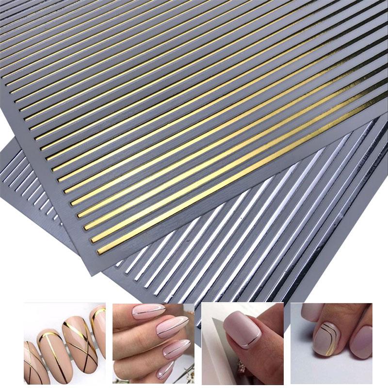 2020 gran oferta 3D Nail Stiker oro plata 3D cinta para el arte del clavo pegatina tira de Metal Multi-tamaño 3D Nail Art manicura