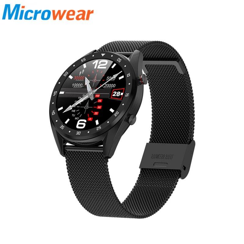 Reloj inteligente L7 para hombre ip68, monitor de ritmo cardíaco a prueba de agua, presión arterial, ECG MTK2502, reloj inteligente deportivo para Android con correa de Metal