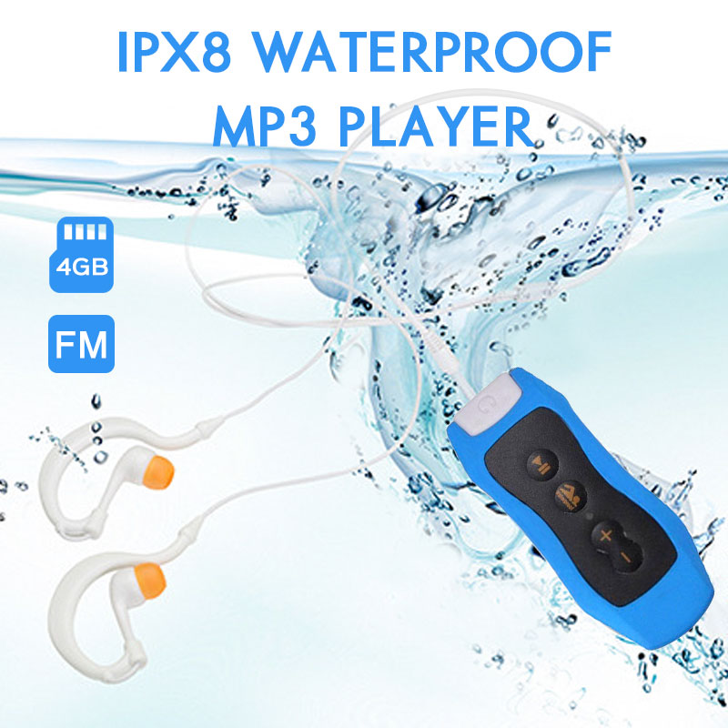 IPX8 Waterproof Swimming Mp3 Player Radio With Earphone Clip For Diving Outdoor Sport 4G MP3 Music P