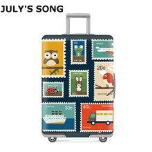 JULYS SONG timbre bagages valise housse de protection for18-32 pouces protéger sac à poussière étui dessin animé voyage élastique couverture bagages