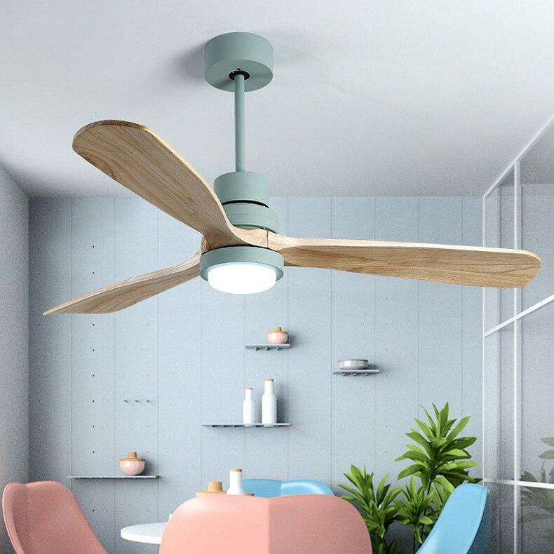 Винтажный деревянный потолочный вентилятор, Роскошный Домашний Деревянный потолочный вентилятор с освещением, 42/52 дюймовые лопатки, охлаж...