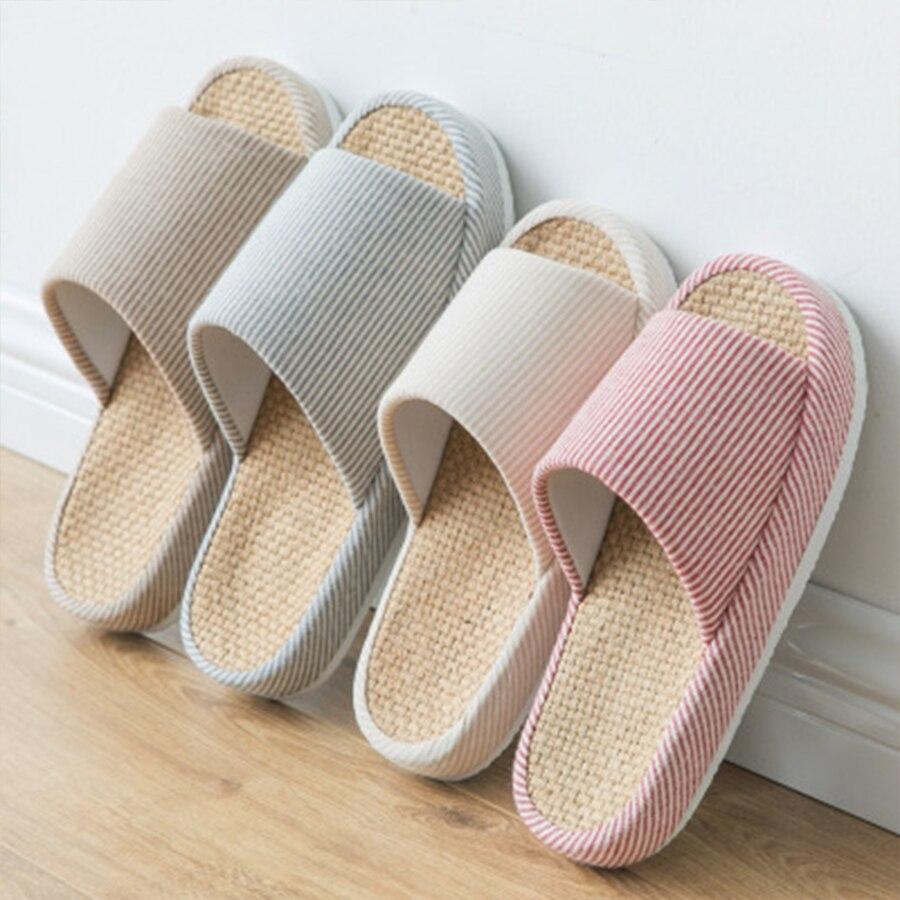 Cómodas pantuflas de cama Unisex de diseñador para mujer, zapatos de playa de lino para el hogar, chanclas estilo Harajuku bohemio para mujer