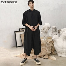 Men Black Capris Jumpsuit Half Sleeve Summer Jumpsuits Stand Collar Drop Crotch Loose Harem Cargo Overall Pants