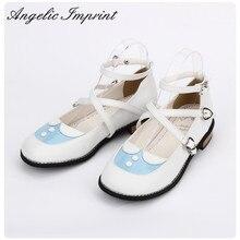 Japonês dolly lolita sapatos kawaii meninas criss cruz salto baixo tornozelo cinta sapatos doce princesa menina sapatos