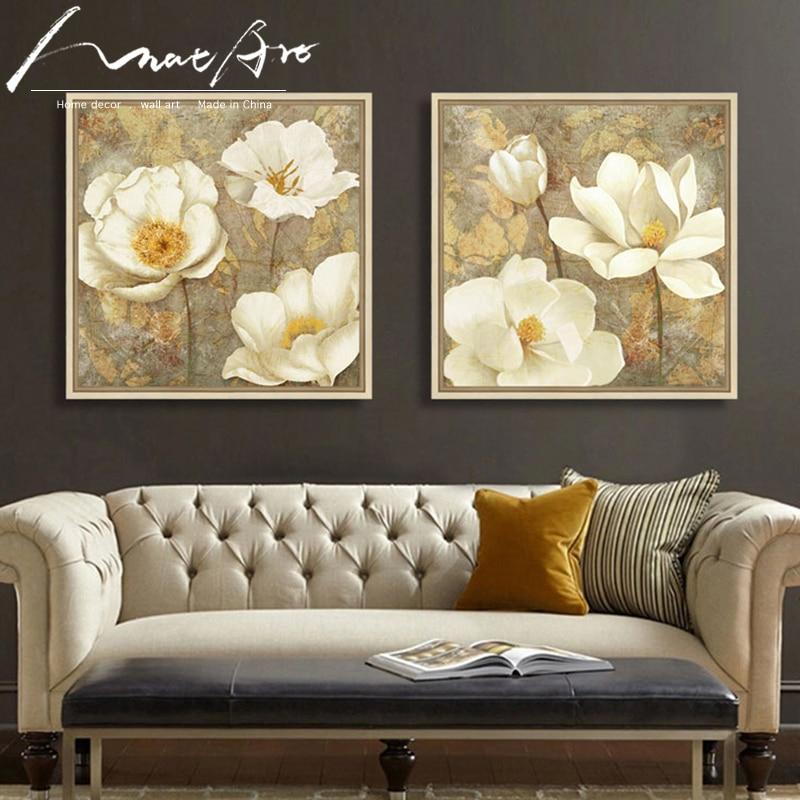 Ouro branco flor arte da lona magnólia pintura poster impressão quarto decorativo arte da parede quadros decorativos cuadros modernos