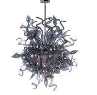 unique designed grey colored blown glass hanging lighting chandelier