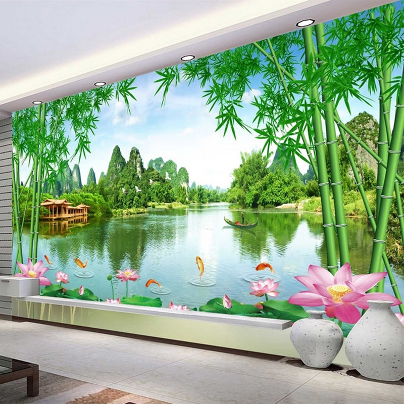Papel tapiz De foto personalizado 3D bambú Lotus naturaleza paisaje murales Sala TV sofá decoración De la pared De fondo Papel De pared Sala 3 D