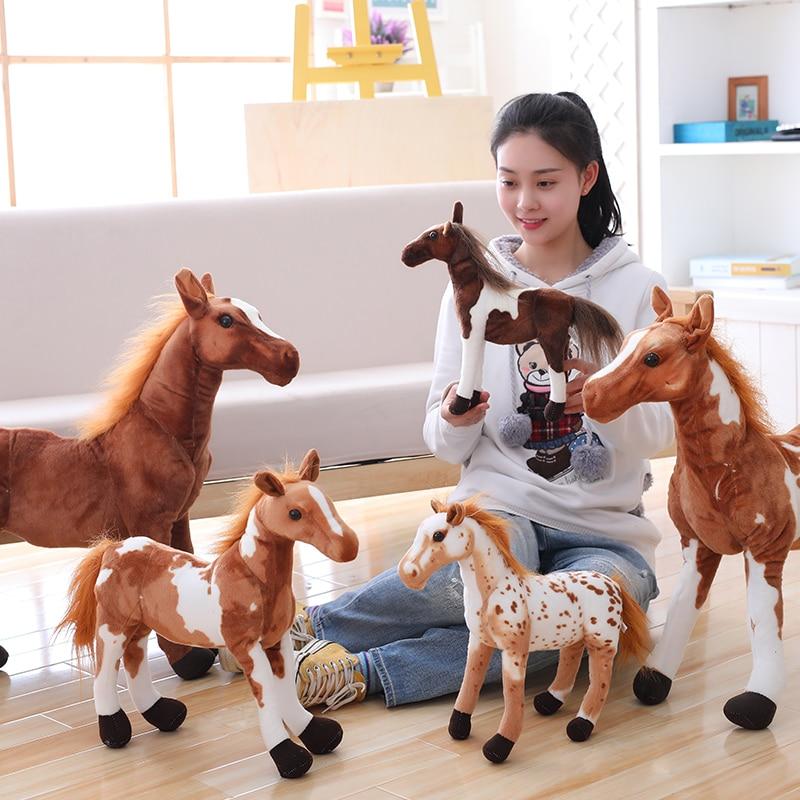 Simulación de caballos de peluche artificiales peluches muñeca de juguete niños niñas niños regalos para fiesta de Navidad decoración del hogar