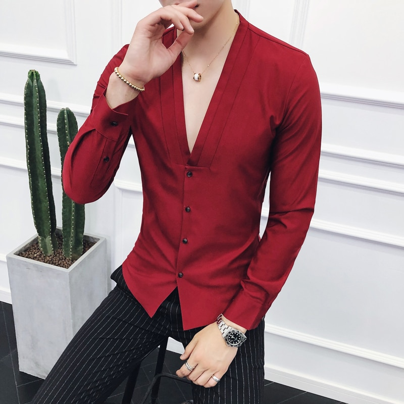 Nova moda v-neck camisas homem, branco, vinho tinto, preto, ajuste fino elegante camisa vestido masculino tamanho 3xl