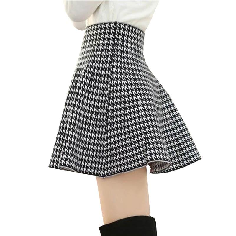 2018 Otoño Invierno mujer Houndstooth falda tejida cintura alta elástica faldas plisadas señoras Falda corta paraguas Mini falda 1082