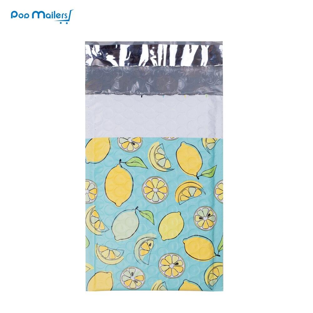 #000 120x180 мм/4x7 дюймов 10 шт. лимон дизайнер поли пузырчатых почтовых отправлений стеганые конверты бутик пользовательские сумки