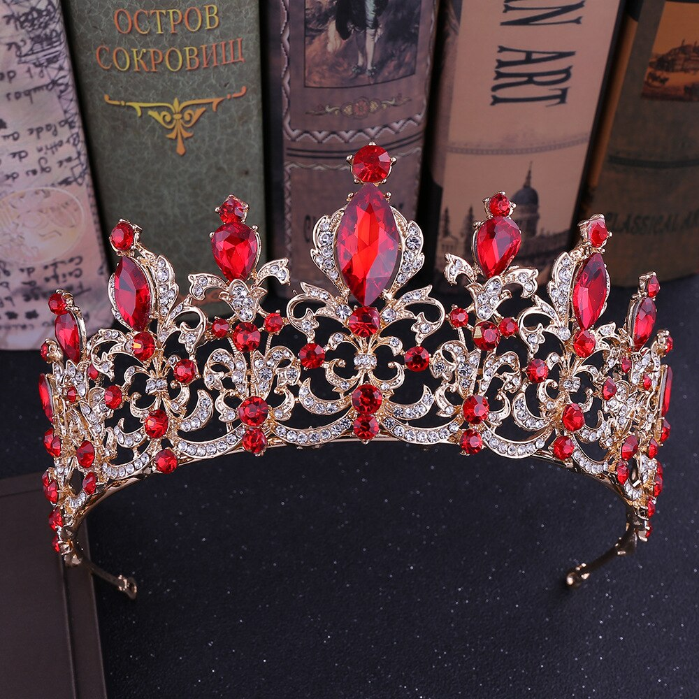 Kmvexo vermelho preto cristal tiara casamento nupcial coroa para casamento noiva ouro coroas strass bandana jóias acessórios de cabelo