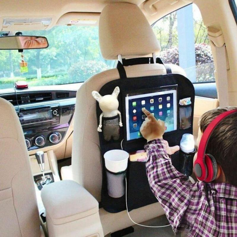 63cm * 43cm fácil de instalar negro Multi-Bolsillo PVC tela coche bolsa de almacenamiento para asiento trasero organizador soporte de teléfono para IPad