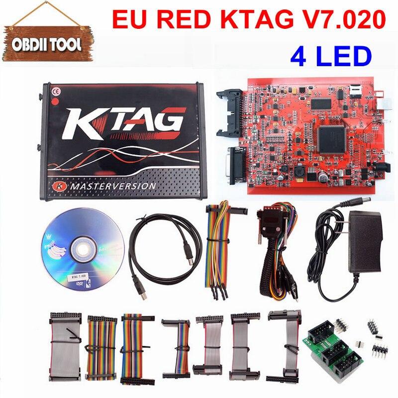 Wysokiej jakości mistrz Online czerwony Ktag V7.020 V2.23 nie tokena ograniczeń K Tag 7.020 7020 ECU programista prezent TAG V7.020 z 4 LED