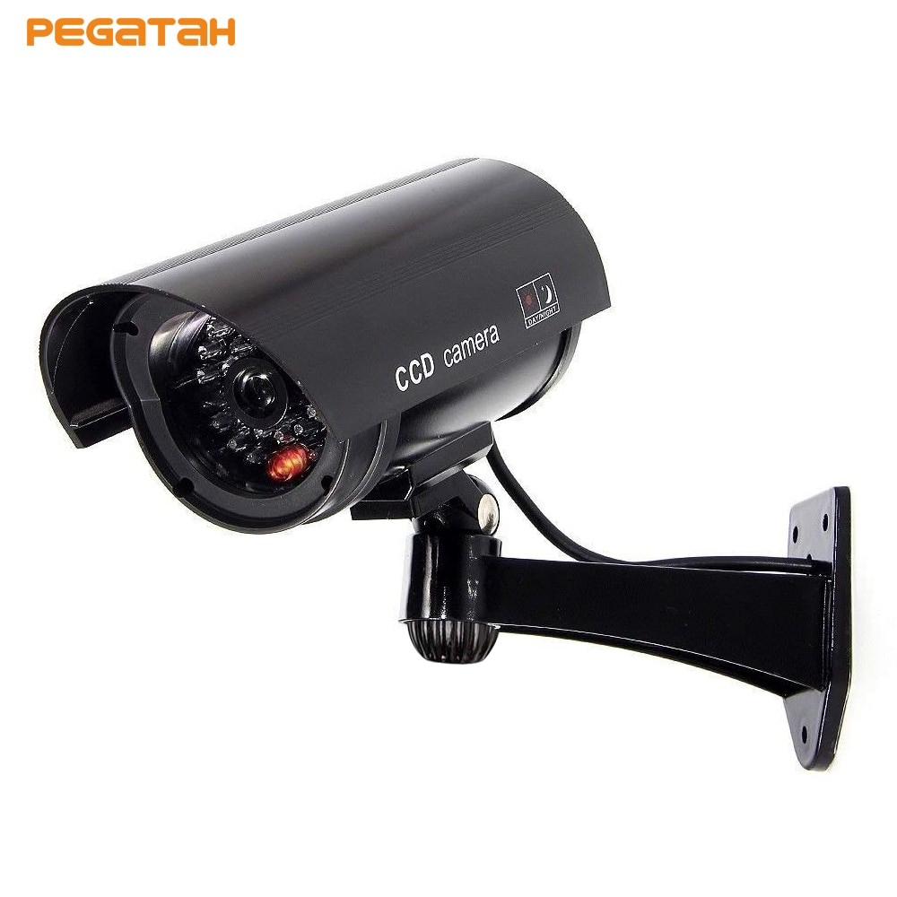 Cámara simulada a prueba de agua de bala falsa cámara de seguridad cámara de vigilancia cctv falsa con LED rojo intermitente