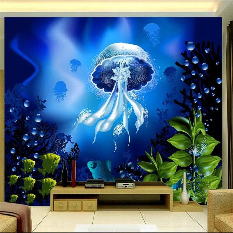 3D mundo submarino medusas TV Fondo pared producción profesional mural foto papel tapiz puede ser personalizado a cualquier tamaño