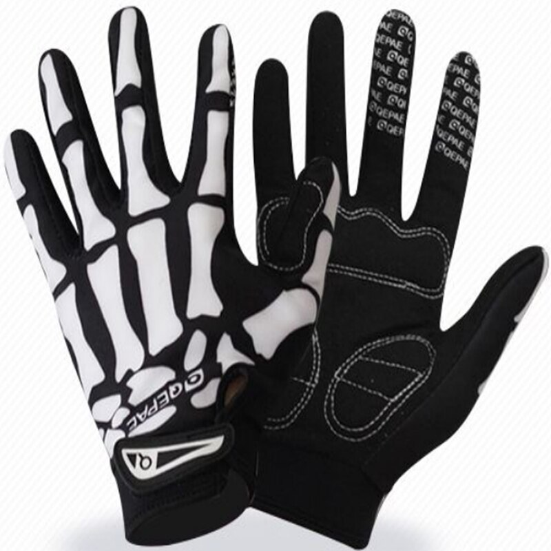 Qepae-Dedo Largo de ciclismo de montaña, guantes deportivos transpirables de medio dedo para exteriores, color negro, para verano XL