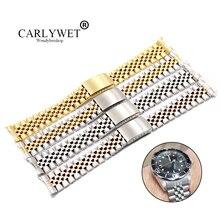 Двухцветные ремешки CARLYWET 19 20 22 мм с закругленным концом и твердым винтом с заменой звеньев, ремешок для часов, браслет в старом стиле