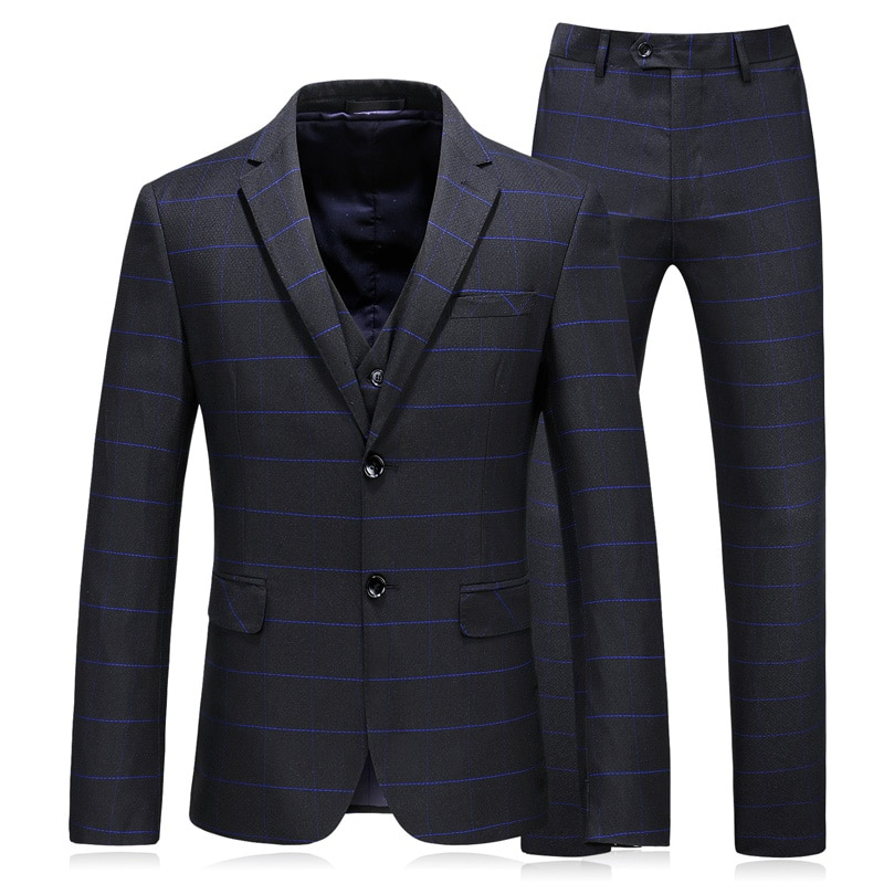 (Jacket+Pants+Vest)New Stlyle Suits Tuxedo Gentleman Mens Skinny Blazers Business Casual Prom Wedding Dress for men Plus