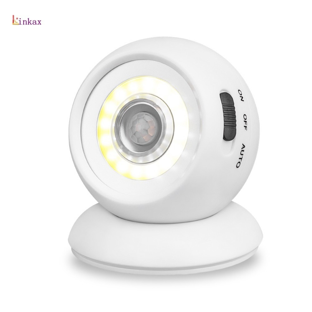 360 Degree Rotary Motion Sensor LED Night Light Power By 3*AAA Battery COB White Light For Baby Room,Bedroom,Corridor,Staircase