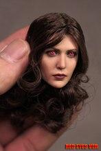 """Figura de acción de ojos rojos, figuras de acción personalizadas de 1/6, Elizabeth Olsen, Scarlet Witch Head, esculpido de 12 """", modelo de soldado"""