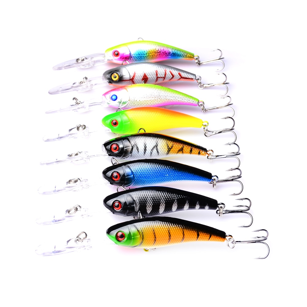 8pc 10cm/8g Wobbler For Trolling Crankbait Fishing Lures Hard Bait Minnow 3D Eyes Plastic Jerkbait Beach Trailer Bass Carp Decoy enlarge