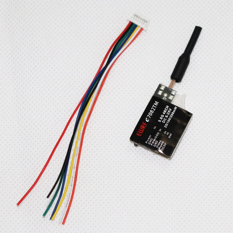 WRF e7082TM 5,8G transmisor 48CH 25/100/200mW PitMmode transmisor conmutable 5V BEC soporte PWM/OSD configuración FPV parte