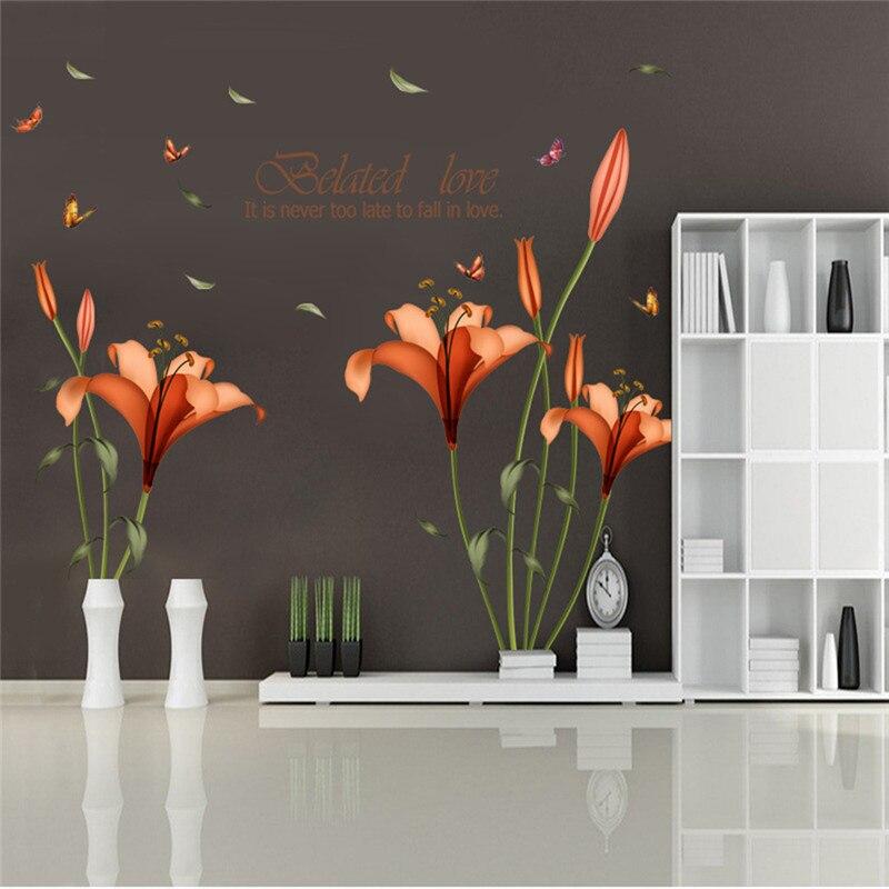 ПВХ оранжевые цветы Бабочка Лист наклейки на стену для детской комнаты Гостиная Ванная комната Кухня Декор настенные наклейки плакат