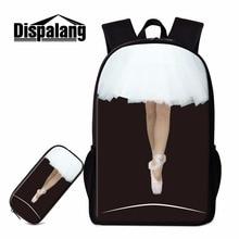 Dispalang حقيبة المدرسة الجميلة للفتيات في سن المراهقة الباليه الرقص الفتيات الطباعة Bookbag الأطفال حزمة الظهر الموضة مع علبة القلم