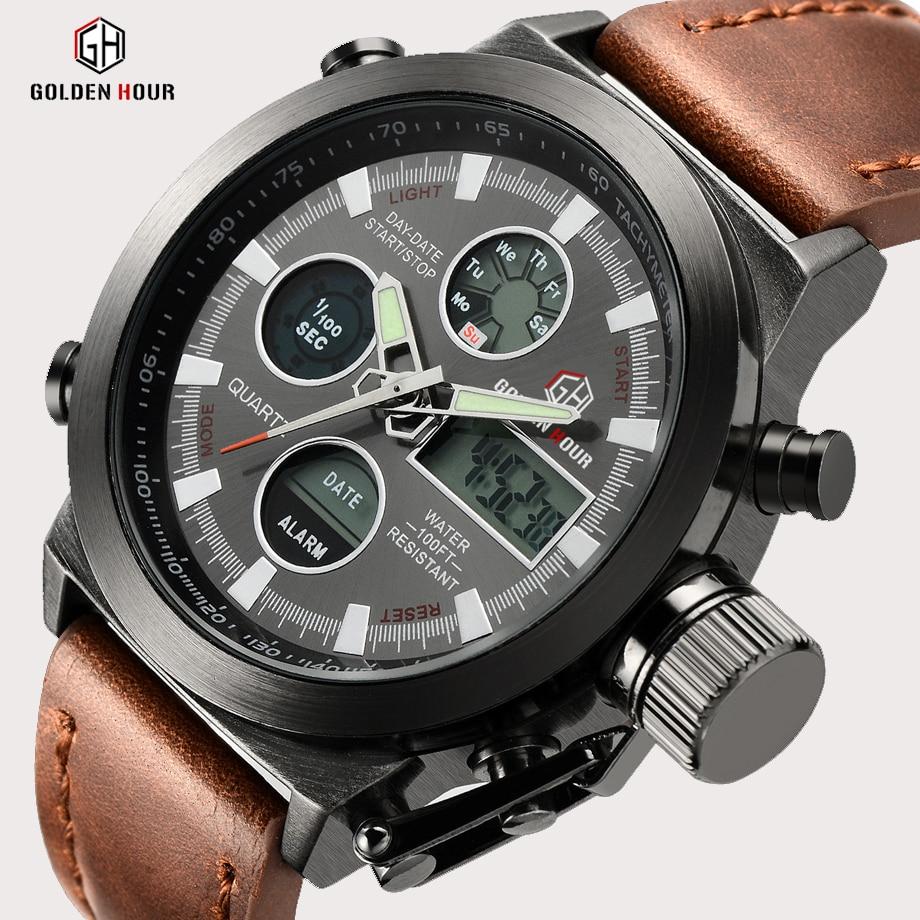 GOLDENHOUR Top Brand Luxury Man Quartz Watches Sport Army Military Waterproof Men Wristwatch Led Display Watch Relogio Masculino