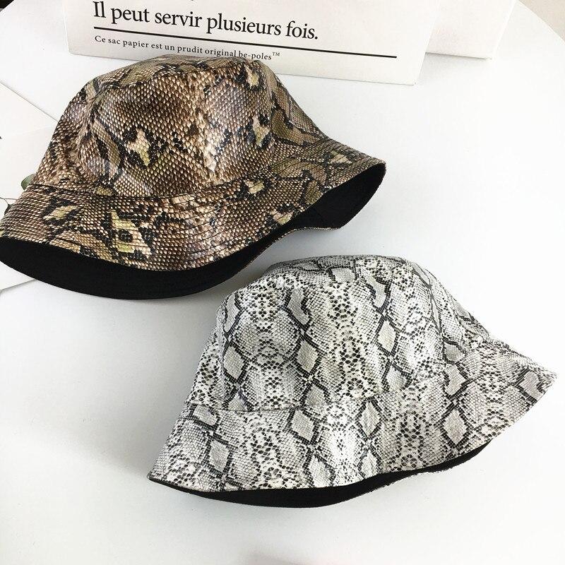 2019 algodão snake print ambos os lados balde chapéu pescador chapéu de viagem ao ar livre chapéu de sol chapéus para homem e mulher 180