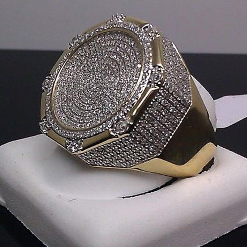 Turkish Colorful Bling Men Ring Vintage Metal Men Antique Golden Rings for Women Fashion Punk Hip Hop Jewelry Cool Bijoux O5M073