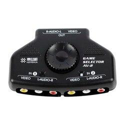 1pcs 2 Way Splitter AV RCA Audio Video Switcher Selector Box w/3 RCA Cable for XBox PS2 #50702  av-2