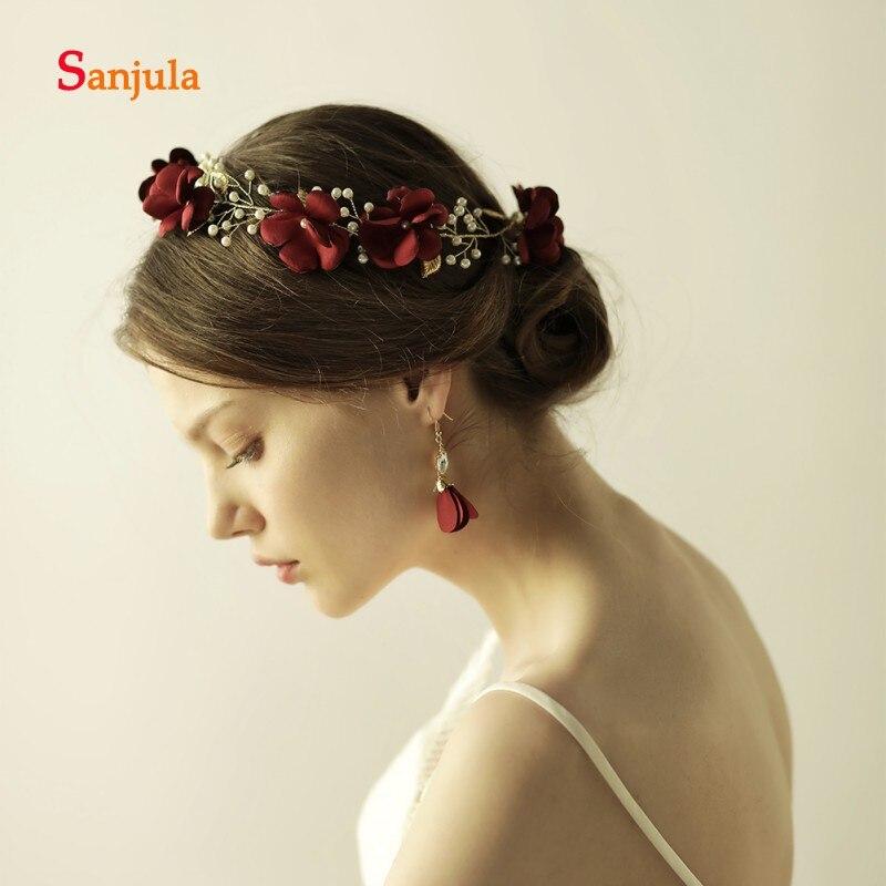 Şarap Kırmızı Gül Çiçek Şapkalar Bordo Düğün saç aksesuarları İnci Altın Taç Gelin Başlığı corona princesa H16