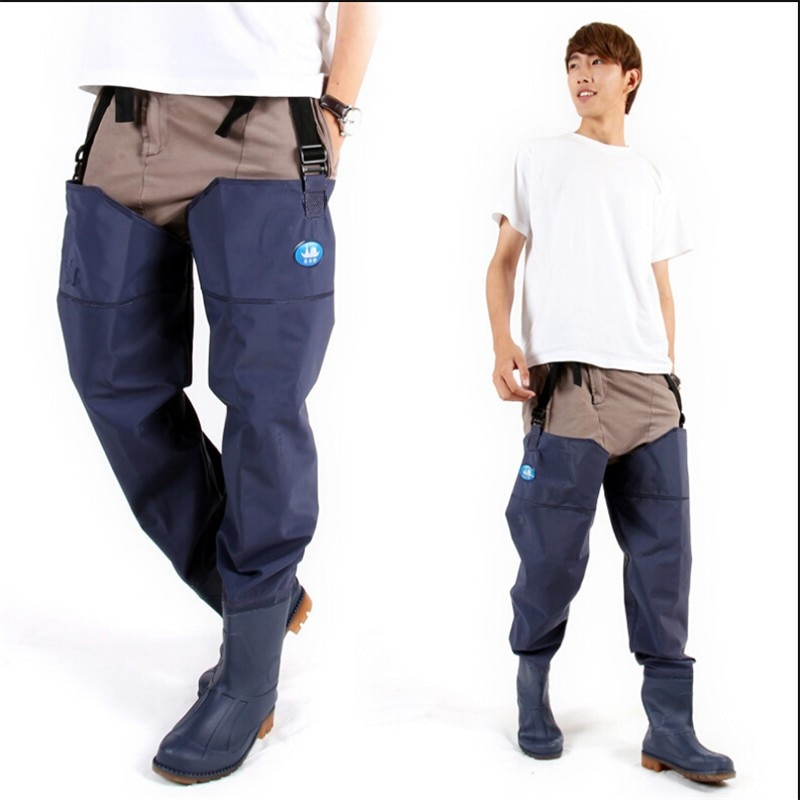 Hombre Mujer Pantalones de pesca Waders azul PVC Material neopreno transpirable goma impermeable de alta calidad calzado pierna pantalones botas