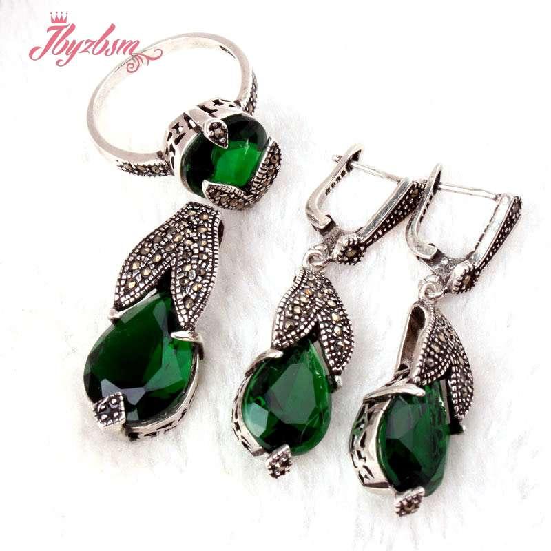 Gota de piedra de cristal verde CZ marcasita Collar de plata tibetana pendientes anillos joyería de moda regalo de las mujeres, envío gratis