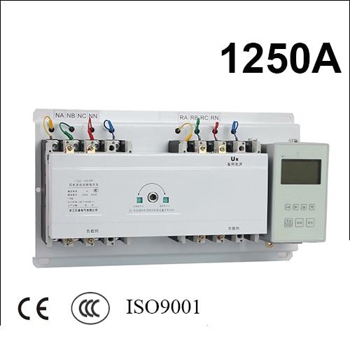 1250A 3 polos 3 fases ats 220 V/230 V/380 V/440 V Interruptor de Transferencia Automática con controlador inglés