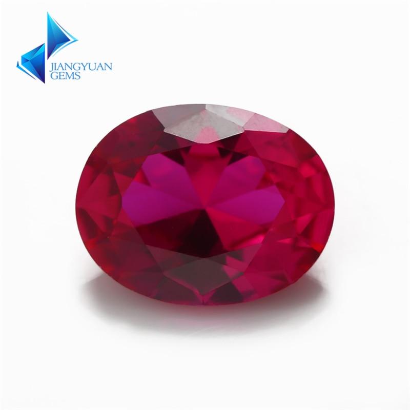 Tamaño 3x5 ~ 13x18mm corte ovalado 5 # rubíes rojos gemas sintéticas de corindón piedra para joyería