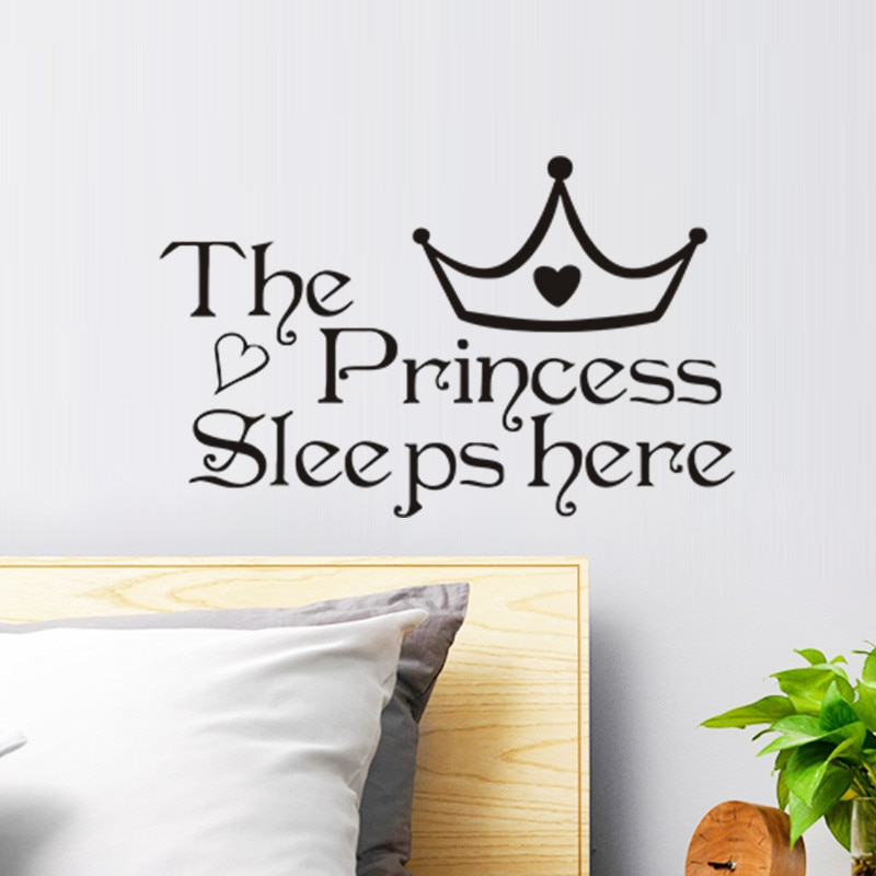 Черные настенные наклейки принцессы для детской комнаты, спальни, домашнего декора, виниловые наклейки на стены, художественные подарки дл...