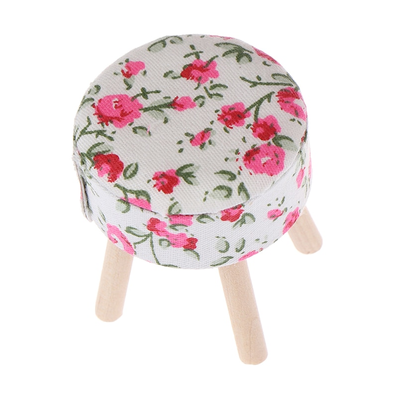 Silla banqueta de madera con diseño Floral redondo, muebles en miniatura para casa de muñecas a escala 1/12, Acc para decoración de casa de muñecas, juguete para niños, juguete para juego de imitación