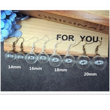 20sets 10pairs 14mm 16mm 18mm 20mm ball glass globe beads cap ear hook earrings set glass vial earring wire charms glass bottle