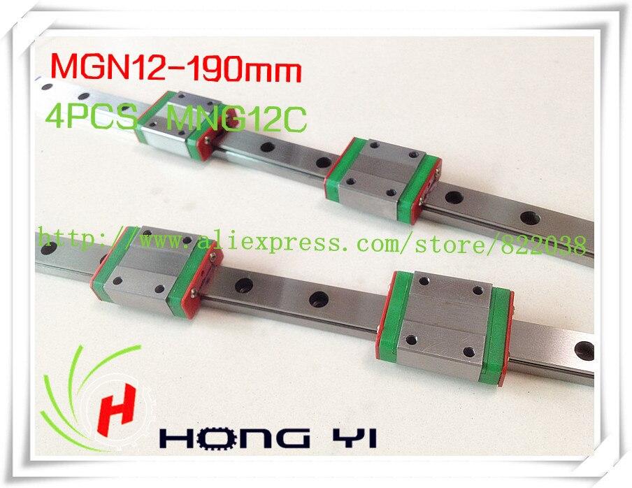 Plaza de guía lineal 2 X MGN12 L = 190mm con 4 piezas MGN12C lineal bloques (se puede cortar cualquier longitud)