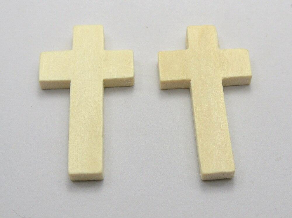 Cuentas de cruz de madera con aspecto Natural 50mm, colgantes de madera de 42x24mm